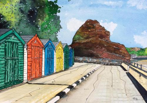 Coryton Cove Beach Huts by Kathryn Loram
